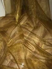 """10 M di voile di organza Oro Antico Matrimonio, tende, Decorazione, Tessuto Abito 58"""""""