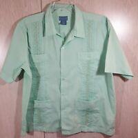 TropiCool Men's Guayabera Shirt Cigar Cuban Wedding Short Sleeve Size XL