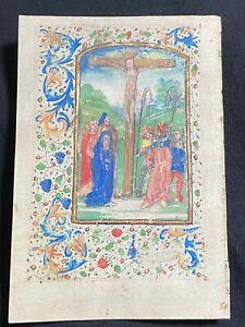 Illuminated Medieval Manuscript Vellum BOH Leaf w/ Crucifixion MINIATURE, c.1460