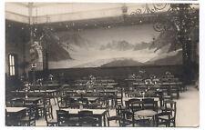 PHOTO ANCIENNE Intérieur Restaurant Chaise Table Tableau paysage Fresque 1930