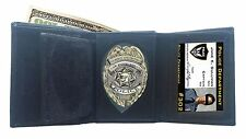 Black Leather Fire Security Shield Sheriff Badge Wallet ID Credit Card Case New!