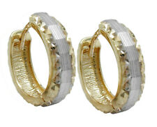 375 ECHT GOLD *** Creolen Ohrringe bicolor diamantiert 14 mm
