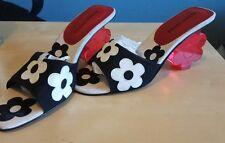 Retro 2000s Vaporwave Mod Lucite Flower Heels Ramon Tenza Italian Leather 7 1/2