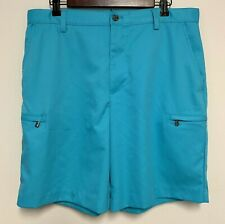 IZOD Perform X Men 34 Shorts Flat Front Pockets Hook and Latch Embroidered Blue