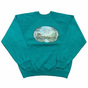Vintage Tultex Unisex Sweatshirt Turquoise Graphic Jumper Top Size L