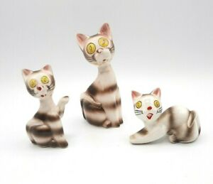 Set of 3 Vintage Brinnco Large Yellow Eyed Striped Cat with Kittens Figurines