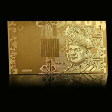 WR Malaysia Specimen Gold 1 Ringgit Banknote Mount Kinabalu Collector Note Rare
