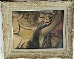 JACQUES GRANGES (1909-1996) ECOLE PARIS GOUACHE  ORIG 1952 NATURE MORTE CUBISTE