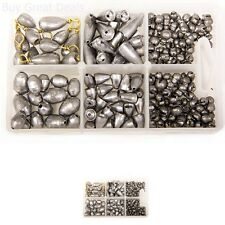 Bullet Sinker Kit Weights Assorted 215 Pieces Fish Fishing Sinkers Weight New