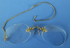 Vintage Rimless Yellow Metal Spectacles & Original Case. From Newtown, Wales.
