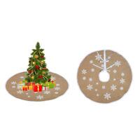Vintage Round Burlap Tree Skirt Christmas White Snowflake Printed Decorations