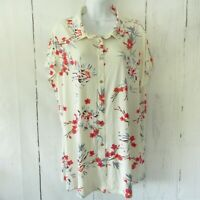 New H By Halston Jersey Top 1X Ivory Floral Button Up Short Sleeve Plus Size QVC