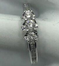 Ct. Size 7 Eb#2 H Si 1-2 3 Stone Diamond Ring 14k White Gold .50