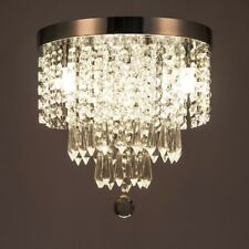 Elegant Crystal Chandelier Flush Mount Lighting 3 Lights Bedroom Ceiling Light