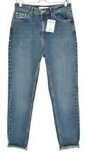 Topshop MOM High Waisted Stonewash Blue Tapered Jeans Size 12 W30 L32