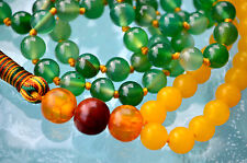 Green Yellow Jade & Rosewood 108 Prayer Beads Hand Knotted Mala Beads Necklace