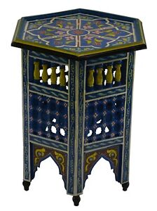 Moroccan Handmade Moucharabi Table Side Delicate Hand Painted Exquisite Blue
