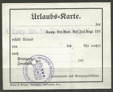 GERMANY. WW1. FIELDPOST. UNUSED LEAVE PERMIT – URLAUB KARTE. STRAIGHT LINE AND O