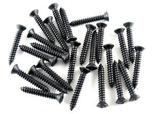 "25pcs Chrysler Black Trim Screws- #10 x 1-1/4"" Phillips Oval Head- #8 Head- #304"