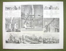 ASTRONOMY Telescopes Observatories Russia Greenwich - 1870s Print Engraving