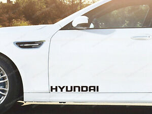 2 x Hyundai Stickers for Doors i20 i30 N ix20 ix35 Getz Coupe Santa Fe Black