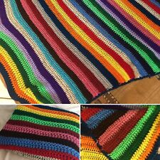 VINTAGE Crochet Quilt Handmade Granny Throw Blanket 55x65 Rainbow Multicolor