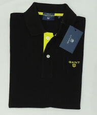 GANT PIQUE Cotton Contrast Collar Men's Regular Polo in Black