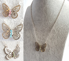 BUTTERFLY PENDANT NECKLACE Silver Tone With Pink Turquoise Or Green Diamante