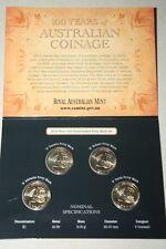 (PL) 2010 100 YEARS OF AUSTRALIAN COINAGE 4 X $1 COINS ROYAL AUSTRALIA MINT RAM