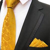 MUSTARD GOLD YELLOW GOLDEN PAISLEY DESIGNER WEDDING TIE AND POCKET SQUARE SET UK