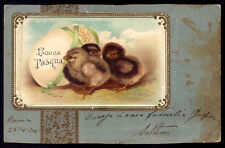 CHICK CHICKEN Bird Animal HAPPY EASTER. Old litho postcard embossed GERMANY 1900