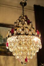Antique VNT. FRENCH Basket style Crystal Chandelier Light  Lamp 1960's