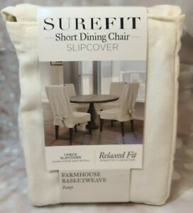 SUREFIT FARMHOUSE BASKETWEAVE IVORY SLIP COVER RELAXED FIT SHORT DINING CHAIR 1P