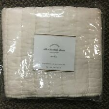 NEW Pottery Barn Silk Channel Quilt Pillow Sham Cover Standard Grey Ivory Brown