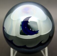 "CORREIA Moon and Waves Reflective Art Glass Vintage Paperweight,Apr 3""W x 3""H"