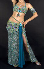 Turquoise and green professional belly dance costume
