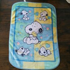 Vintage Baby Snoopy Woodstock Crib Blanket Color Block Soft Fleece Lovey Plush