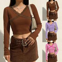 Women Autumn Long Sleeve T Shirt Ladies Sexy Crop Tops Casual Tee Shirt Blouse