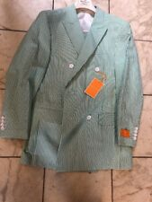 2392441ed3124 NWT ROYAL DIAMOND 100% Cotton Green White Seersucker Men Suit Size 46R
