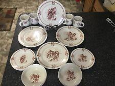 Totally Today Vintage Western Cowboy Horse Dinnerware: 16 Pieces Service 4- Nos
