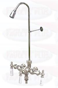 Chrome Stub Pattern Clawfoot Tub Add-A-Shower Faucet - 11512-1377