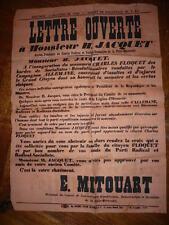 AFFICHE 1910 PARTI RADICAL SOCIALISTE JACQUET / MITOUART