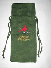 """Nwt Green Holiday Wine Bottle Cloth Gift Bag """"Celebrate the Season"""" Embroidery"""