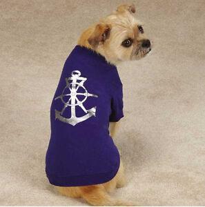 All Paws on Deck Dog T-Shirt Tee Top Anchor Pet Navy Nautical Sailor  XXS - XL