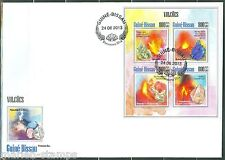 GUINEA BISSAU 2013  VOLCANOES & MINERALS  SHEET FIRST DAY COVER