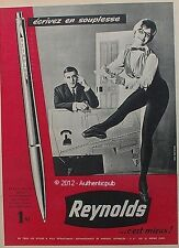 PUBLICITE REYNOLDS STYLO A BILLE RETRACTABLE 3R SECRETAIRE DE 1960 FRENCH AD PEN