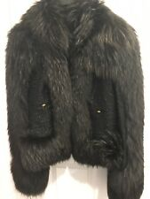 Just Cavalli Tweed Dark Blue Dyed Fox Fur Short Jacket Sz It 40(US 4) $2995