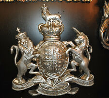 Royal Coat of Arms Wall Plaque Large Silver British Royal Crest Wall Plaque