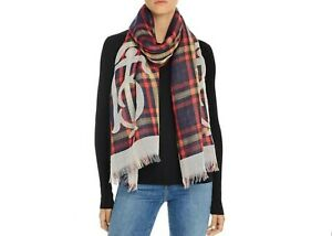 Tory Burch Womens Check Virgin Wool Logo Lightweight Scarf Wrap Red Retail $248