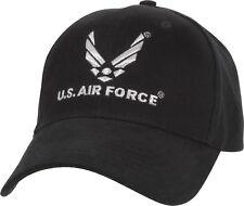 08c04f3577b USAF Baseball Cap Air Force Low Profile Wing Logo Black Ballcap Hat Rothco  9280